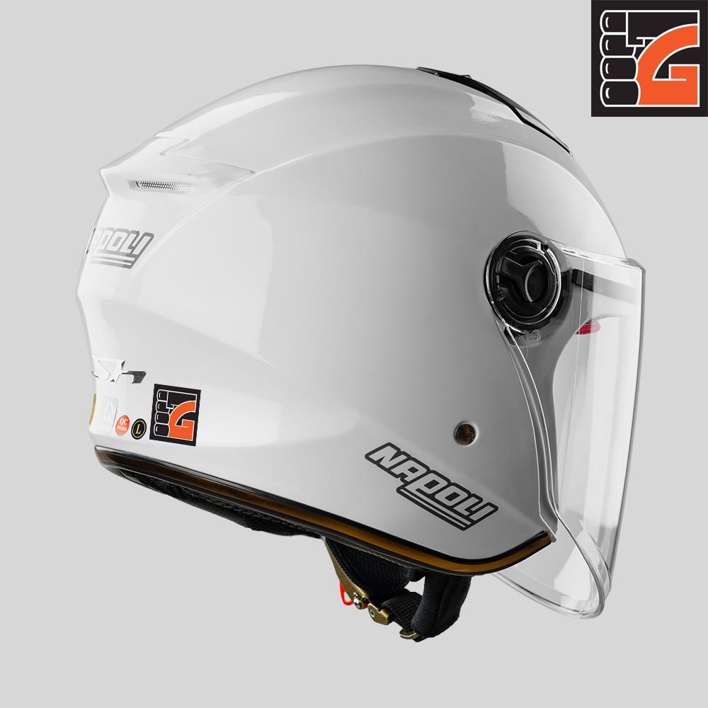 ✅[GLOVESZONE] Mũ bảo hiểm 3/4 kính NAPOLI X3 trắng bóng - Hàng Chính hãng