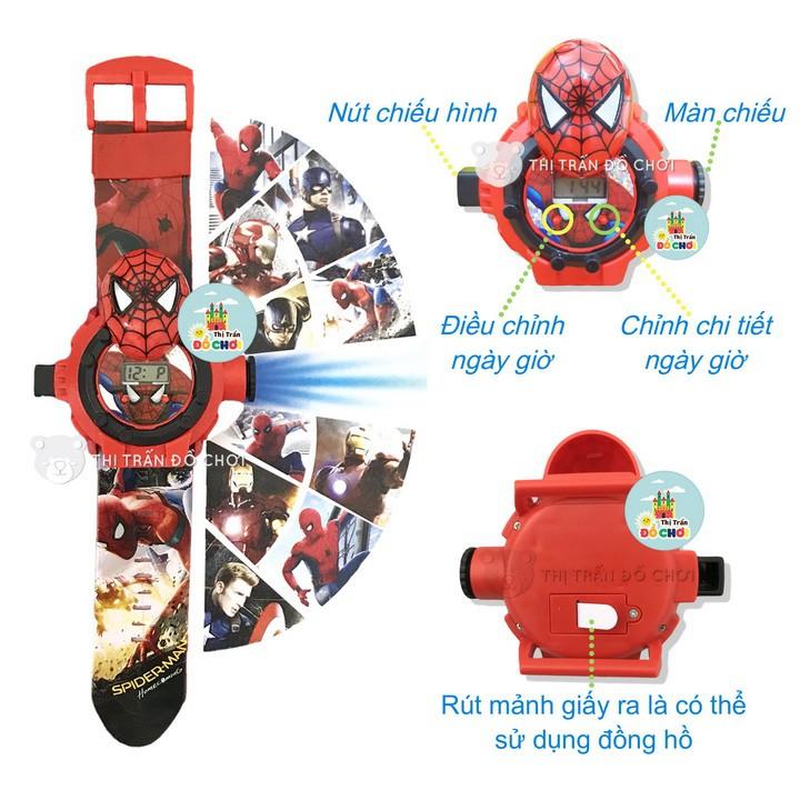 Đồ chơi đồng hồ trẻ em cho bé trai mẫu siêu nhân người nhện chiếu 24 hình 3D 777-131B