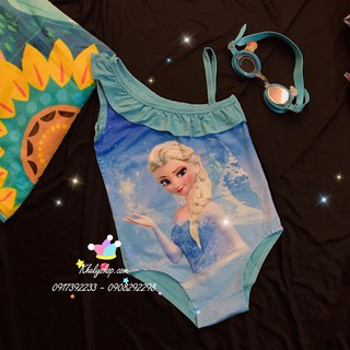 Bộ đồ bơi dây liền thân hình công chúa Elsa (Frozen) màu xanh size (L,XL)dành cho trẻ em, bé gái – 15DBDFZX-L –15DBDFZ