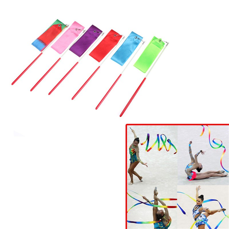YZVN Gym Dance Ribbon Gymnastics Art Ballet Streamer Twirling Rod Outdoor Sport