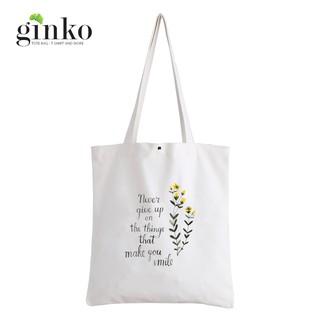 Túi Vải Tote GINKO Kiểu Basic Nút Bấm In Hình Never Give Up G128