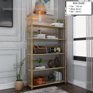 Kệ sách gỗ , kệ đa năng gỗ cao su 5 tầng x 90cm
