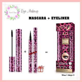 [Tặng Bút Kẻ Mắt] Mascara FREESHIP Combo Mascara và Kẻ Mắt Yanqina Red Leopard Eyeliner 4D Mi Siêu Dài Không Thấm Nước thumbnail