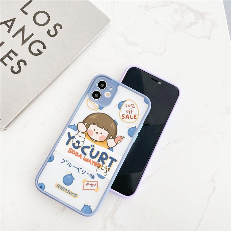 Ốp lưng iphone Roro Food nhám viền nổi cong 5/5s/6/6plus/6s/6splus/7/7plus/8/8plus/x/xr/xs/11/12/pro/max/plus/promax