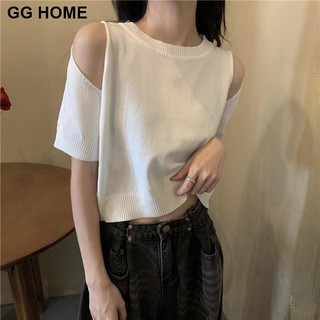 Summer new style small fragrance wind scheming strapless sexy short top women design sense ice silk thin short-sleeved sweater