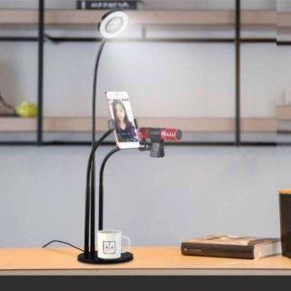 Chân kẹp micro livestream có đèn