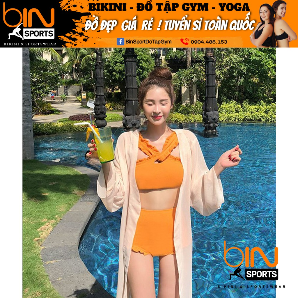 Bikini,Bộ Đồ Bơi Cổ Chéo Màu Vàng, Hàng Nhập Đủ Size M L XL,BHN015