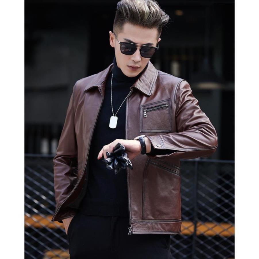Áo khoác nam da dê nguyên tấm đẳng cấp thời trang Hàn Quốc 2019