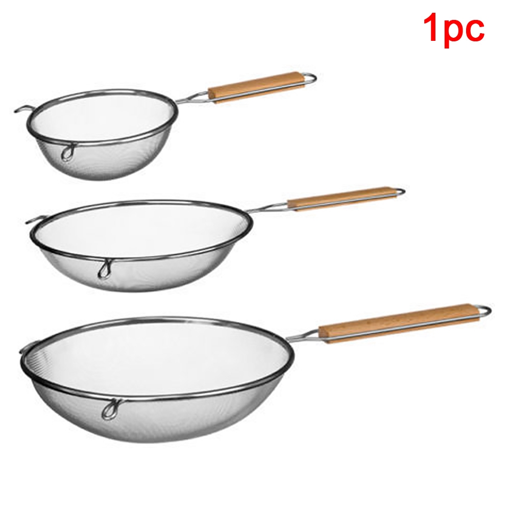 Multi Use Restaurant Anti-scalding Food Grade Kitchen Stainless Steel Wood Handle Hanging Hole Mesh Sieve