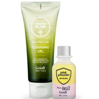 [Mã FMCG100K - 10% đơn 500K] Bộ sản phẩm trị mụn cấp tốc và xóa thâm Grinif Pink Powder + Grinif Teatree Cleansing Gel