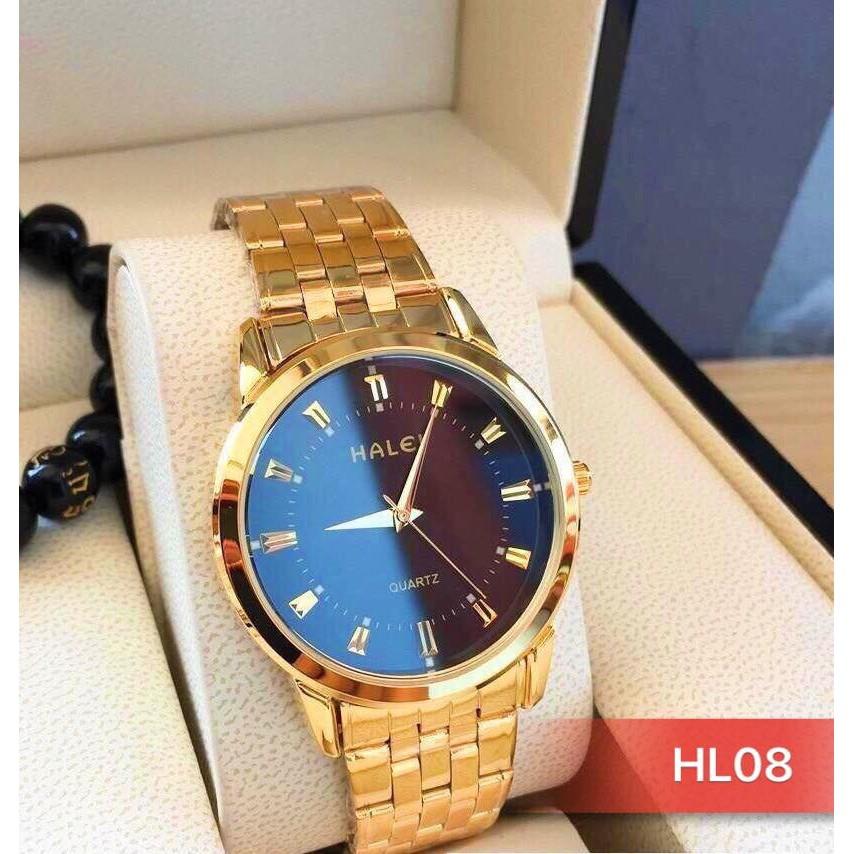 đồng hồ nam đẹp Halei dây vàng chống nước chống xước,tặng kèm vòng tì hưu