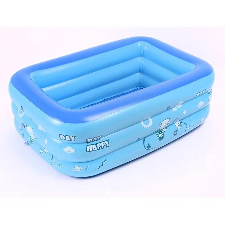 Bể bơi cho cả gia đình 3 tầng 120cm nhựa pvc loại 1 tặng kèm 1 bơm chân.