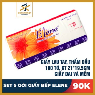 Giấy Bếp Lau Tay, Thấm Dầu Elene - Gói 100 Tờ, 2 Lớp