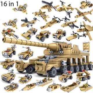 [Hàng Chính Hãng] Bộ Đồ Chơi Xếp Hình 16in1 KAZI Lắp Ráp LEGO Xe Tăng 544 Mảnh Ghép