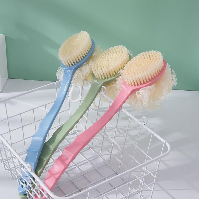 [Phá giá] Cọ lưng tắm 2 đầu có cán cầm - bông tắm kèm bàn chải - có dây móc treo   _ HÀNG LOẠI 1