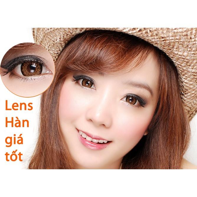Lens-kính áp tròng Hàn Quốc chính hãng, Màu Nâu, (1 cặp lens+khay đơn)