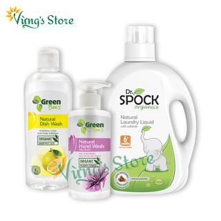 Nước giặt xả trẻ em Dr. Spock 6 cho trẻ từ 6 tháng, Nước rửa bát Tinh chất Hạt Bưởi, Nước rửa tay Hoa Lạc Tiên Organic