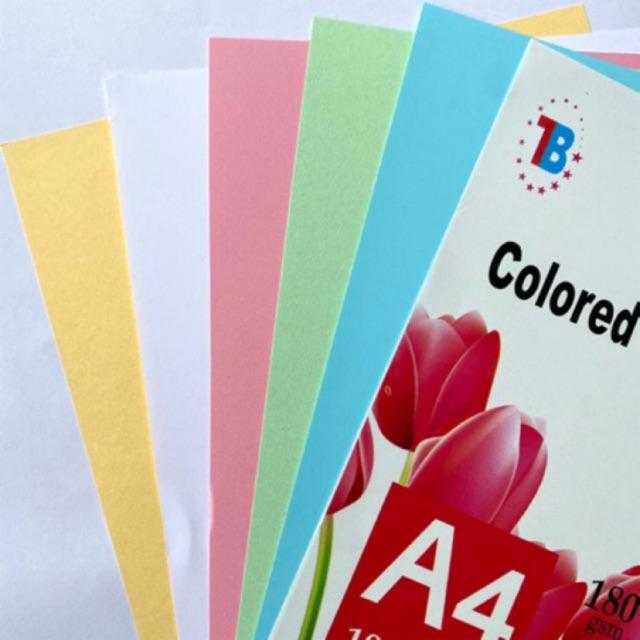 Giấy bìa màu cứng A4 180gms - 100 tờ