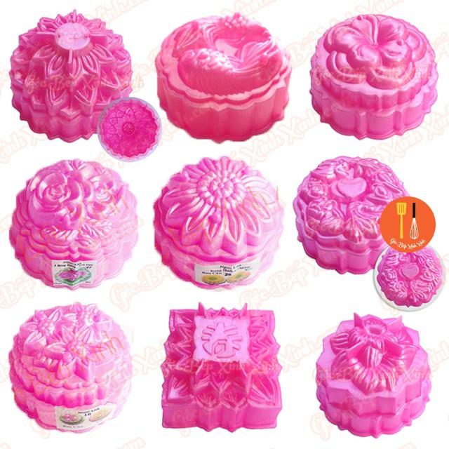 Bộ 5 khuôn nhựa hồng rời Ngọc Lan làm rau câu, ép xôi, cơm (lấy ngẩu nhiên 5 mẫu)