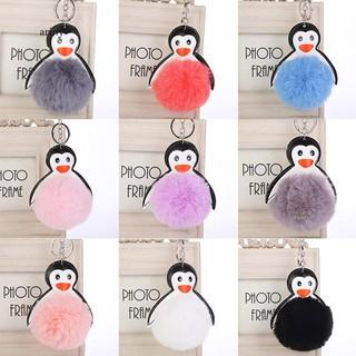 ★Lovely Penguin Faux Fur Ball Keyring Car Key Chain Handbag Hanging Decor Gift