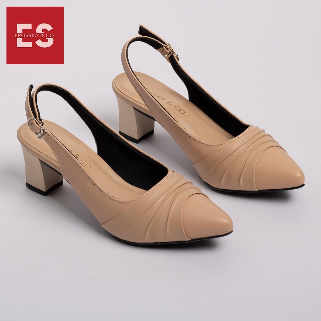 Giày cao gót Erosska thời trang mũi nhọn phối dây quai mảnh hở gót họa tiết đơn giản cao 5cm màu nude _ EH029