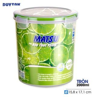 Hộp Nhựa Tròn Đựng Thực Phẩm Duy Tân Matsu dung tích 2000ml (15.8 x 15.8 x 17.1 cm)