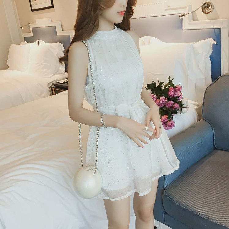 ㍿❂✔Shiny hang loose chiffon dress summer wear new Han Fan neck sleeveless night shop a word skirt super fairy temperame