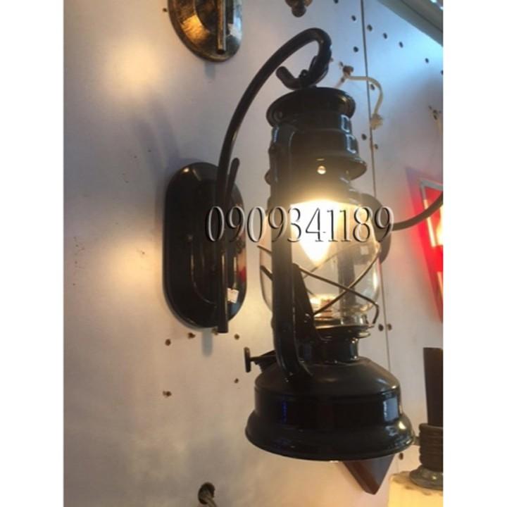 Đèn gắn tường trang trí đèn dầu bão(MÀU ĐEN) tặng bóng đèn led