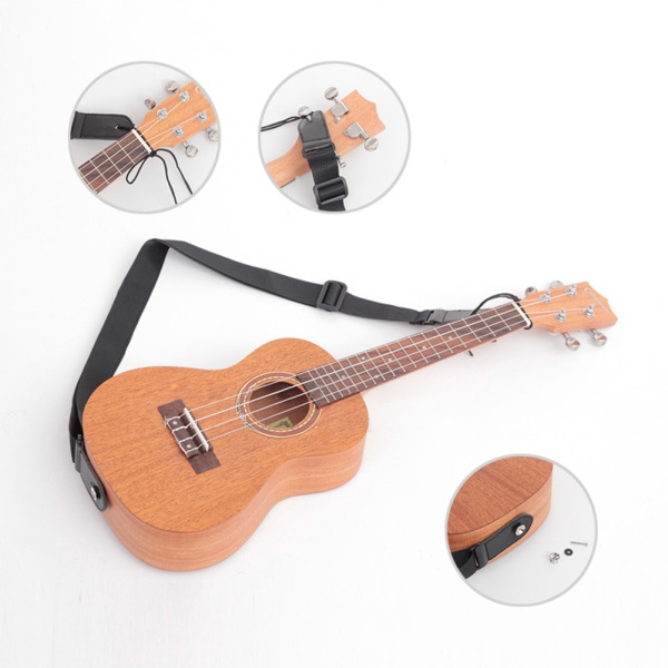 Longteam Adjustable Ukulele Guitar Belt Strap for Electric Acoustic Folk Guitar with Tail Nail