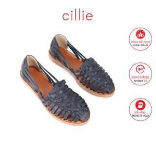 Giày búp bê rọ da thật Cillie 1067