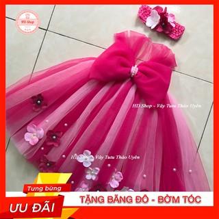 Đầm tutu cho bé ❤️FREESHIP❤️ Đầm tutu hồng sen pha hồng phấn 1-1 nơ hs