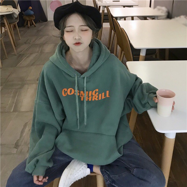 [áo hoodie nữ] áo hoodie nữ form rộng nỉ bông có mũ màu xanh mặc nhà đi học đi chơi thời trang hàn quốc ulzzang hàn quốc