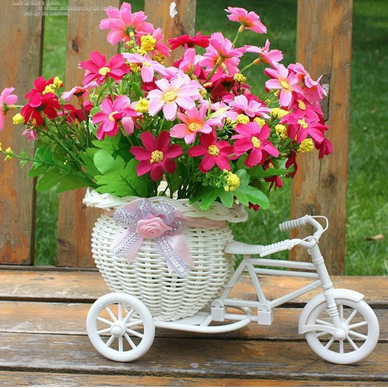 Specialhour Plastic Tricycle Bike Design Flower Basket Container For Flower Plant Home Weddding Decoration