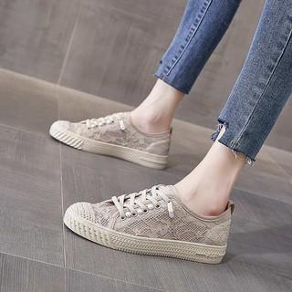 Giày thủy tinh nhỏ thơm nữ mùa hè mỏng phần ren thoáng khí 2021 mới lười biếng một bàn đạp giày phẳng giản dị thumbnail