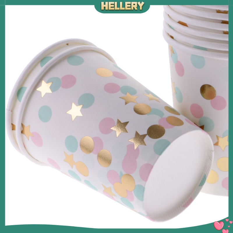 [HELLERY]10x Dots Paper Party Set Plates Cups Birthday Wedding Bouquet Tableware 7″ 1