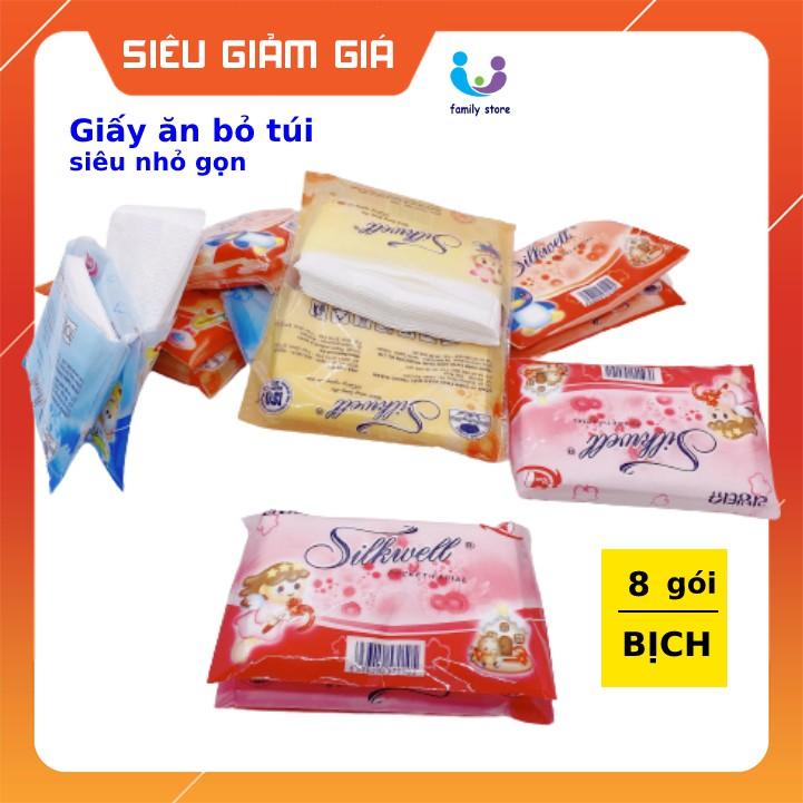 Giấy ăn bỏ túi loại khăn giấy mini Silkwell Siêu Tiết Kiệm, Siêu Tiện Lợi 8 gói/dây
