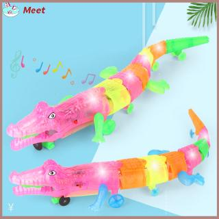 Bog Size Rope Pull Crocodile Simulation Electric Light Sound Crawl All Direction Animal Toy