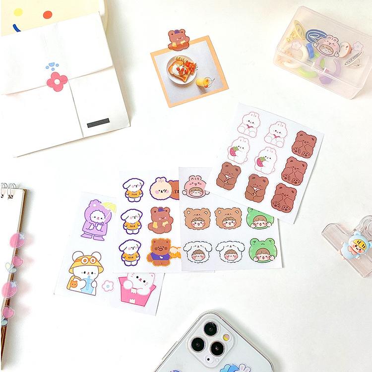 Aroee 1 Pcs Cute Sticker Rabbit Bear Stickers Diary Scrapbook Decor