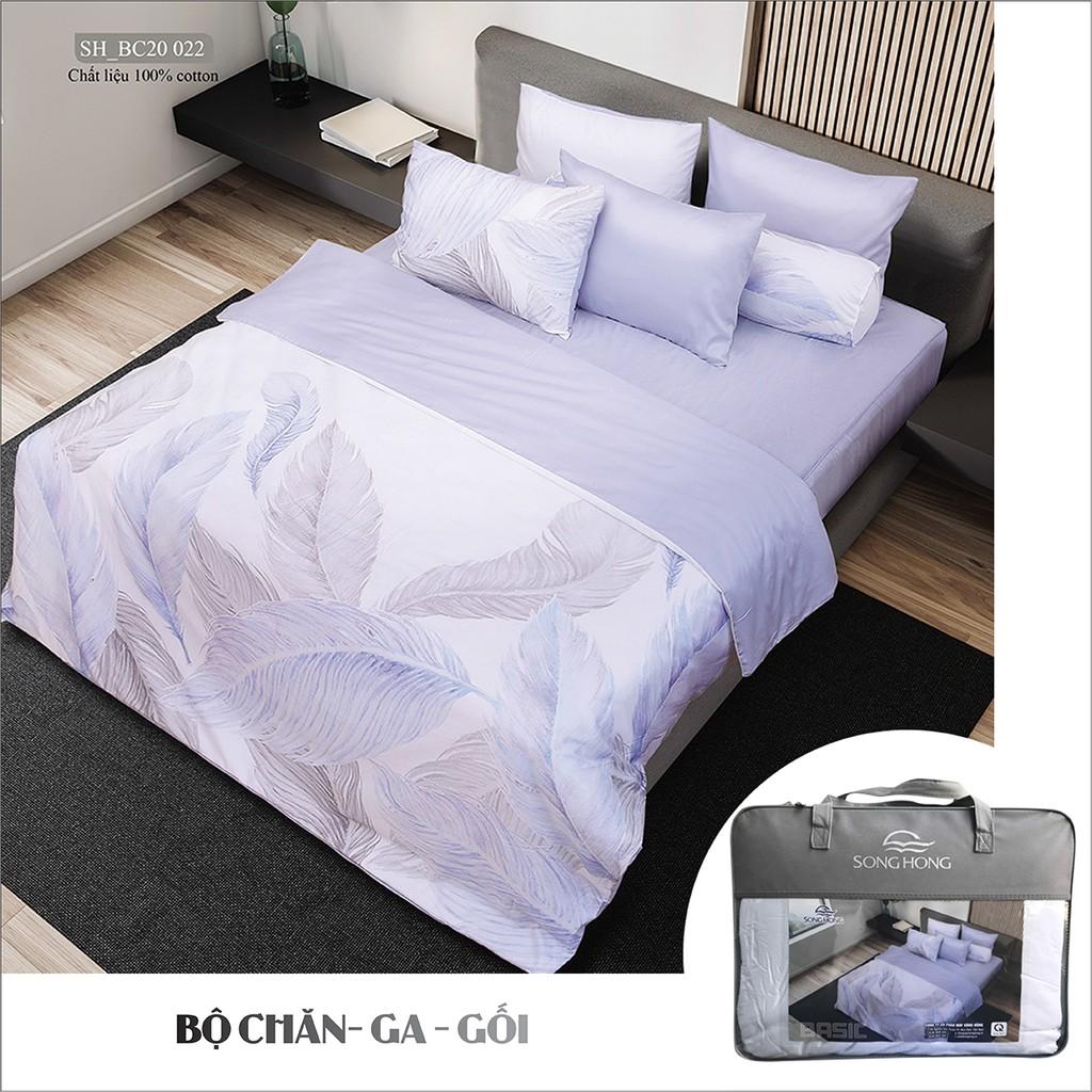 Bộ chăn ga gối Sông Hồng chất cotton mã BC20 022, hàng chần