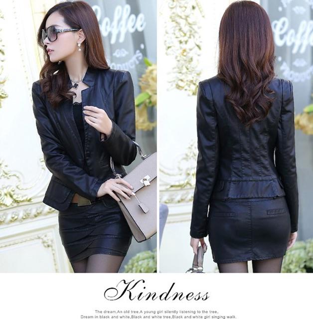 Áo khoác vest da nữ 2 lớp da thật màu đen và da bò