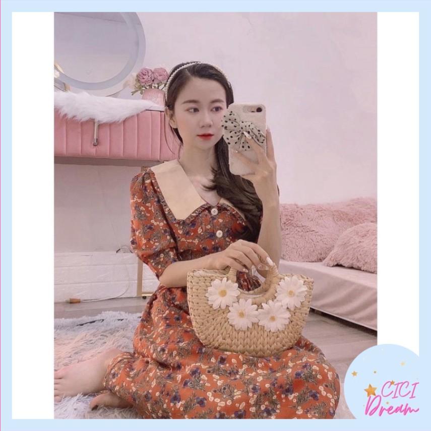 Đầm - váy babydoll cộc tay hoa nhí phối cổ BẢN TO, Đầm - váy babydoll tay lỡ hoa nhí