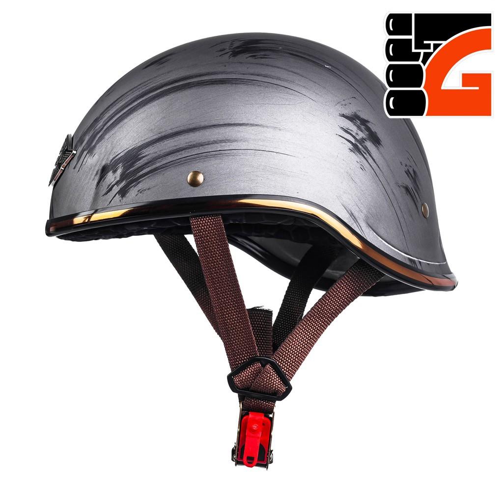 Mũ Bảo Hiểm ½ Đầu NAPOLI GANGSTER - Màu Bạc Nhám Free Size (55 -58CM) - BẢO HÀNH 12 THÁNG