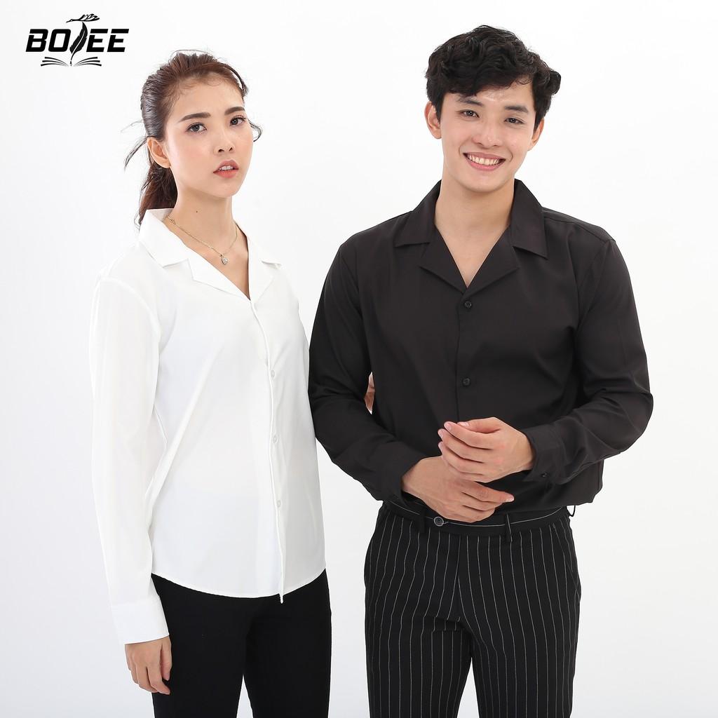 Áo sơ mi Vest tay dài form rộng BOTEE unisex nam nữ hai màu đen trắng
