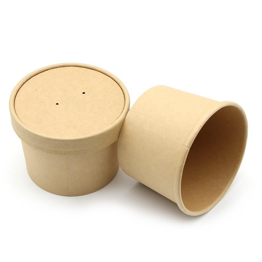 10 Tô Kraft nhỏ 550 ml kèm nắp giấy  - Tô kem -Tô phở- Tô bánh đúc-Tô Bánh Bột lộc