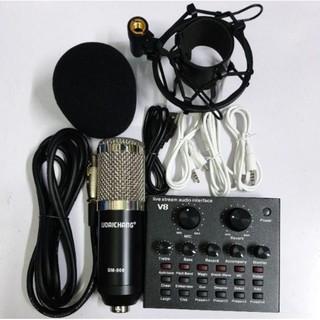 Soundcard V8 AQTA Chính Hãng Có Bluetooth + Mic Karaoke Livetream BM 900 Cao Cấp, Có AutoTune Chuẩn Phòng Thu