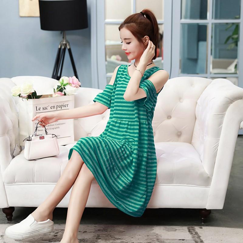 Đầm bầu , váy baaud dễ thương hở vai thích hợp cho mặc nhà dạo phố