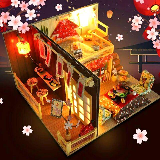 Mô hình nhà gỗ búp bê dollhouse DIY – TD12 Sakura Sushi