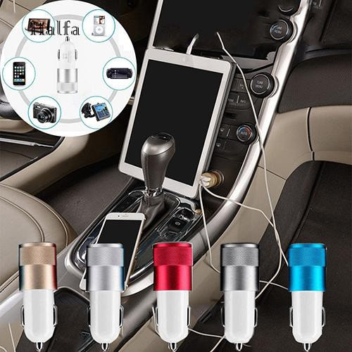 HL☆Car Charger Adaptor Bullet Dual USB 2 Port for iPod iPhone 4 5 5C 5S Samsung HTC