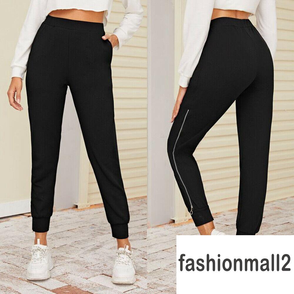 ✤-Women´s Black Long Pants Zipper Side Slit High-waisted Jogger Pants