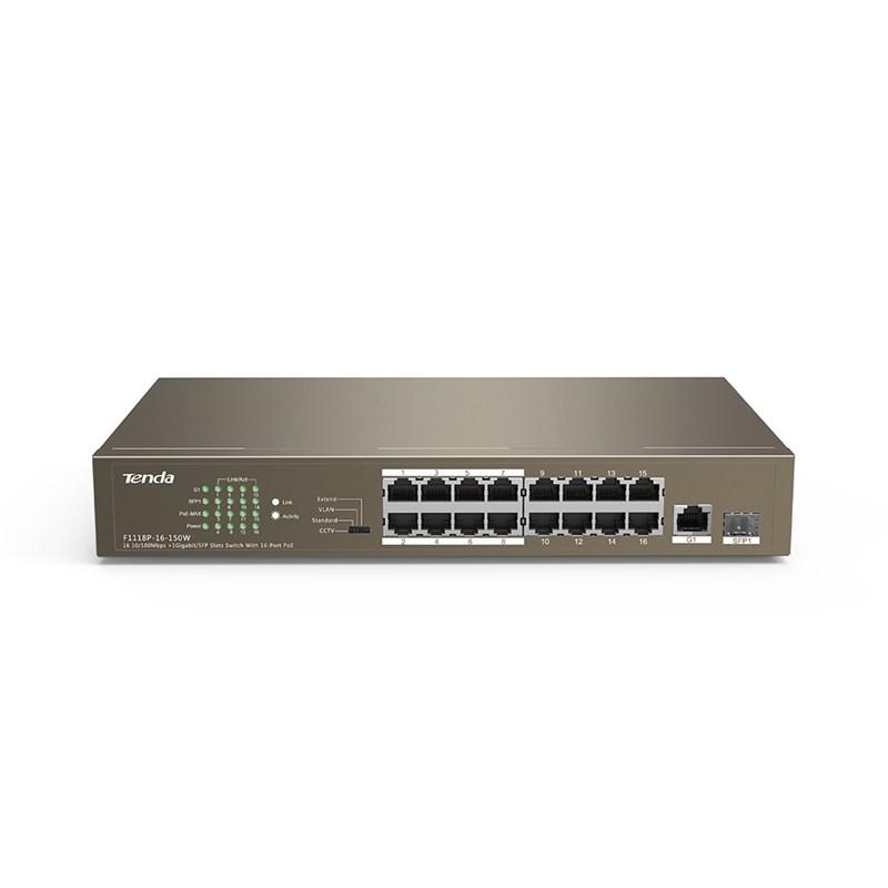 Switch với 16 cổng PoE + 1 cổng Giga 1000M + 1 cổng 1G SFP Tenda TEF1118P